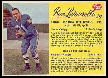 Ron Latourelle 1963 Post CFL football card