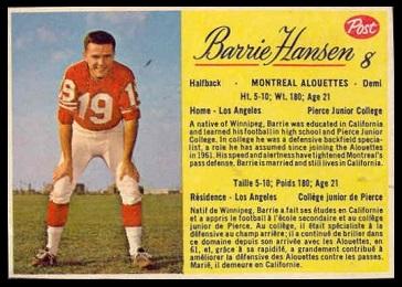 Barrie Hansen 1963 Post CFL football card