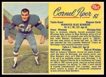 Cornel Piper 1963 Post CFL football card