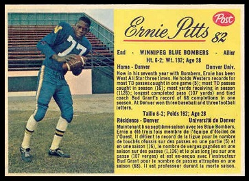 Ernie Pitts 1963 Post CFL football card