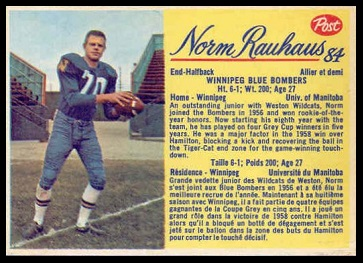 Norm Rauhaus 1963 Post CFL football card