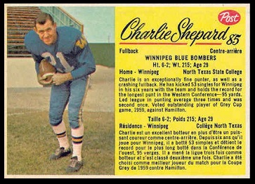 Charlie Shepard 1963 Post CFL football card