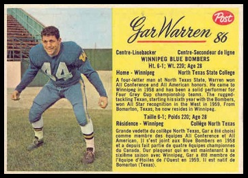 Gar Warren 1963 Post CFL football card