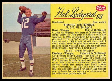 Hal Ledyard 1963 Post CFL football card