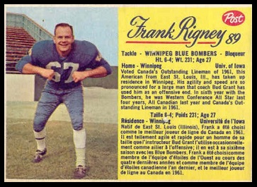 Frank Rigney 1963 Post CFL football card