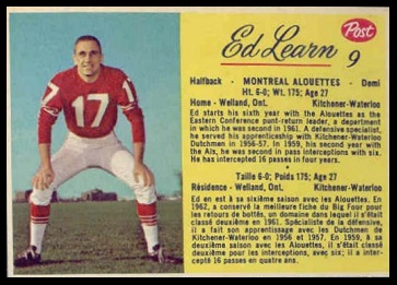 Ed Learn 1963 Post CFL football card