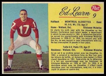 Ed Learn 1963 Post CFL football card
