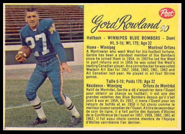 Gord Rowland 1963 Post CFL football card