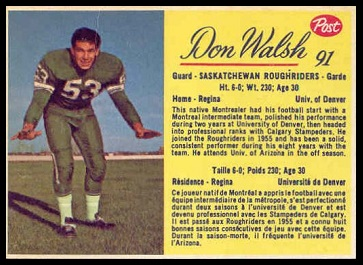 Don Walsh 1963 Post CFL football card
