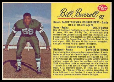 Bill Burrell 1963 Post CFL football card