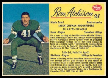 Ron Atchison 1963 Post CFL football card