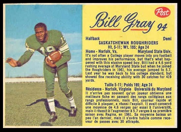 Billy Gray 1963 Post CFL football card