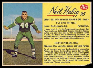 Neil Habig 1963 Post CFL football card
