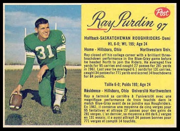 Ray Purdin 1963 Post CFL football card
