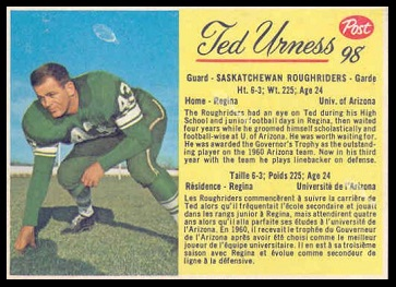 Ted Urness 1963 Post CFL football card