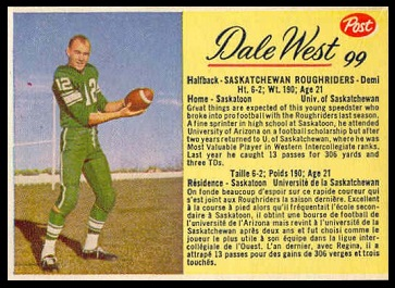 Dale West 1963 Post CFL football card