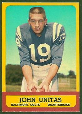 John Unitas 1963 Topps football card