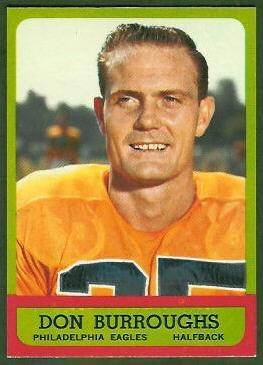 Don Burroughs 1963 Topps football card