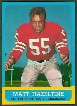 Matt Hazeltine 1963 Topps football card