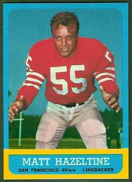Matt Hazeltine 1963 Topps football card