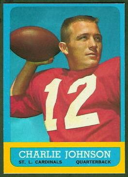 Charley Johnson 1963 Topps football card