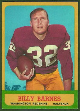 Bill Barnes 1963 Topps football card
