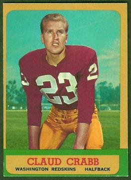 Claude Crabb 1963 Topps football card