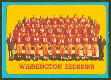 Washington Redskins Team 1963 Topps football card
