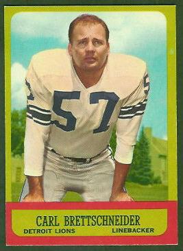 Carl Brettschneider 1963 Topps football card