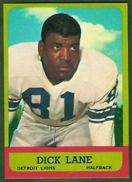 Dick Lane 1963 Topps football card