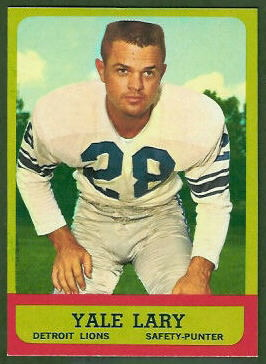 Yale Lary 1963 Topps football card