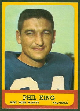 Phil King 1963 Topps football card