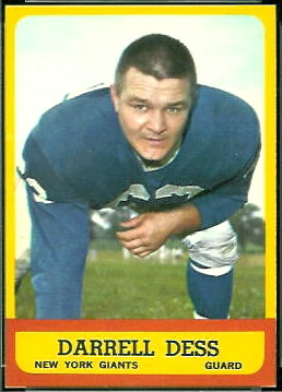 Darrell Dess 1963 Topps football card