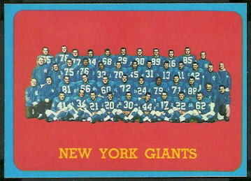 New York Giants Team 1963 Topps football card