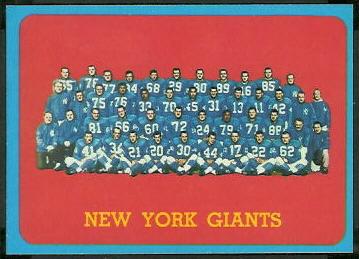 New York Giants Team 1963 Topps football card