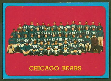 Chicago Bears Team 1963 Topps football card