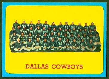 Dallas Cowboys Team 1963 Topps football card