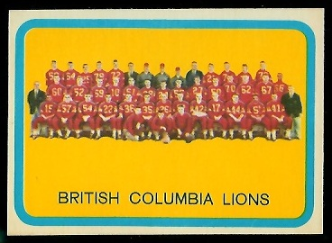 B.C. Lions Team 1963 Topps CFL football card