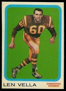 Len Vella 1963 Topps CFL football card