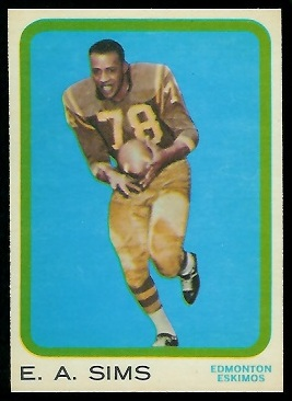 E.A. Sims 1963 Topps CFL football card