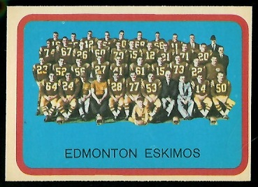 Edmonton Eskimos Team 1963 Topps CFL football card