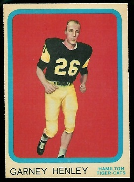 Garney Henley 1963 Topps CFL football card
