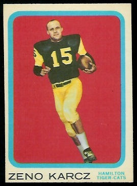 Zeno Karcz 1963 Topps CFL football card