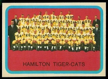 Hamilton Tiger-Cats Team 1963 Topps CFL football card