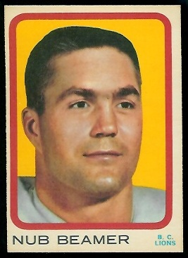 Nub Beamer 1963 Topps CFL football card