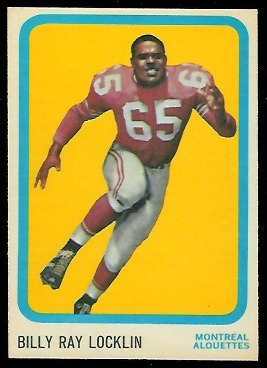 Billy Ray Locklin 1963 Topps CFL football card