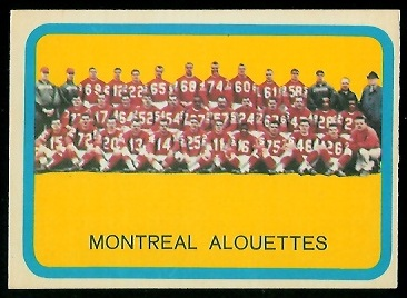 Montreal Alouettes Team 1963 Topps CFL football card