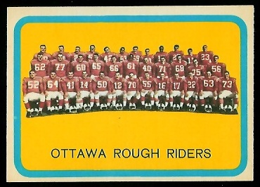 Ottawa Rough Riders Team 1963 Topps CFL football card
