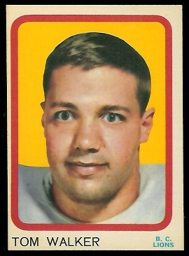 Tom Walker 1963 Topps CFL football card