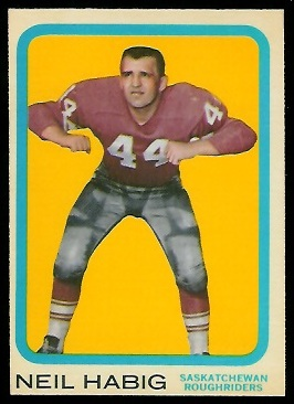 Neil Habig 1963 Topps CFL football card